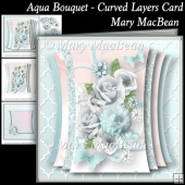 Aqua Bouquet - Curved Layers Card