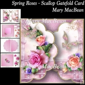 Spring Roses - Scallop Gatefold Card