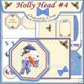 Holly Head #4 Octagon Tag Card