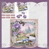 Summer rose and bridge over the river card and decoupage