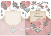 Anniversary Heart Envelope Shape Card Pink