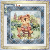 Garden teddy 7x7 card with decoupage