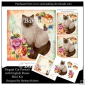 Elegant Cat portrait with English Roses Mini Kit