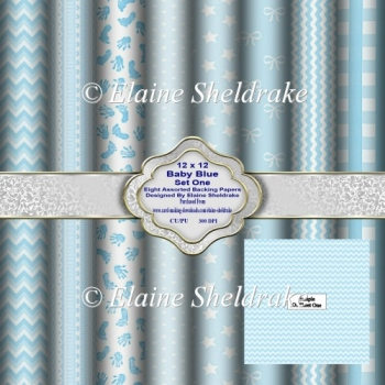 12 x 12 Baby Blue Set One Backing Papers