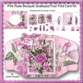 Pink Rose Bouquet Scalloped Four Fold Card Kit