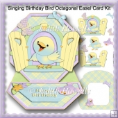Singing Birthday Bird Octagonal Easel Card Kit