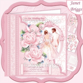Wedding Day LOVE BROUGHT YOU TOGETHER Pink 8x8 Decoupage Kit