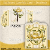 Scallloped Gatefold Card Yellow Rose