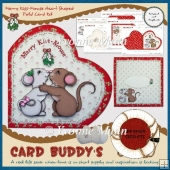 Merry Kiss-Mouse Heart Shaped Fold Card Kit