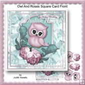 Owl And Roses Square Card Front