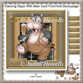 Dancing Hippo With Beer Card Front And Decoupage