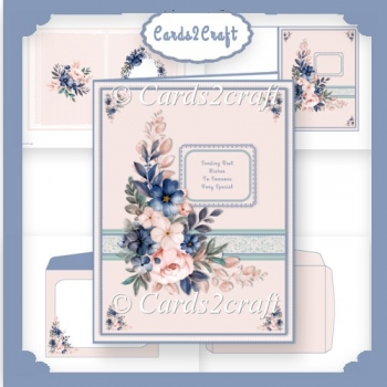Peach and Blue flowers card set