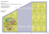 Tri Fold Meadow's Edge In the Fold Bunnies Three Panel Card
