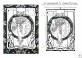 Art Nouveau Lady (1) 7 x 5 Digi Card Topper For You To Colour