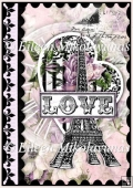 Paris Love Stamp Valentine A4 Card Front