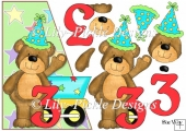 3rd Birthday Bear Over the Edge Card Front and Decoupage