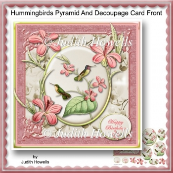 Hummingbirds Pyramid And Decoupage Card Front
