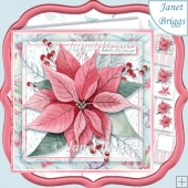 CHRISTMAS POINSETTIA & BERRIES 7.5 Large Decoupage & Insert Kit