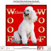 Woof Woof White Poodle Puppy Dog On Red 6 x 6 Card Kit