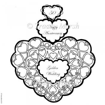 50th Golden Wedding Anniversary Triple Heart Digital Stamp