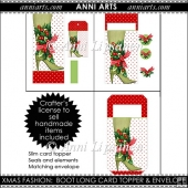 Xmas Fashion: Boot Long Card Topper and Envelope