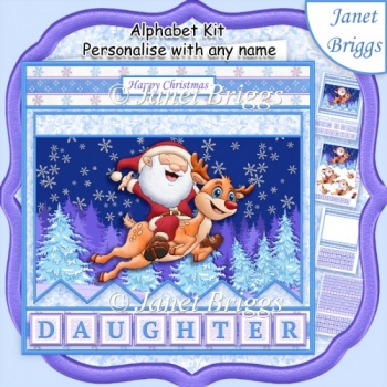 SANTA'S FLIGHT Christmas 7.5 Decoupage Kit Create Any Name