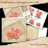Beautiful Vintage Roses with decoupage 8x8 Mini Card Kit