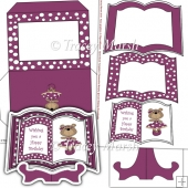 Purple Dressed Up Bear Open Book Card Set