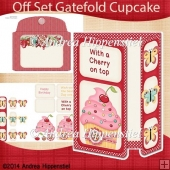 Off Set Gatefold Card Cupcake red