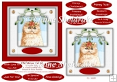 Christmas Cat (6) 6 x 6 Card Topper & Masses Of Greetings Tags