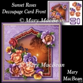 Sunset Roses - Decoupage Card Front