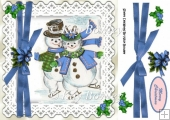 Lovely snowmen skating in blue with lace and bow 8x8