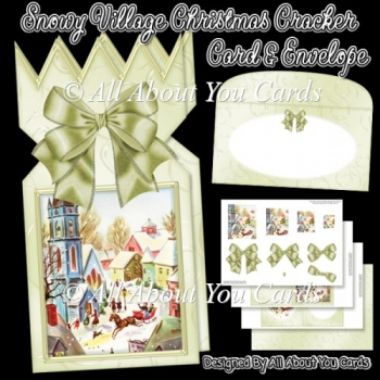 Snowy Village Christmas Cracker Card & Envelope
