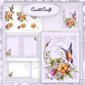 Butterfly and flowers Birthday card set
