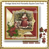 Vintage Santa And Poinsettia Square Card Front