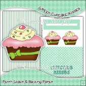 Green Cupcake Kisses PDF Penny Slider Card Download