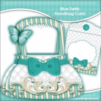 Blue Swirls Handbag Card & Envelope Kit