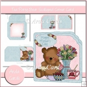 Tea Party Bear Scalloped Corner Card
