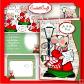 Wavy edge carol singing mouse card set