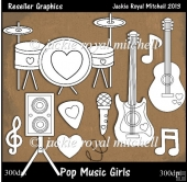 Pop Music Girls Colour Your Own Reseller Clipart