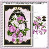 Rose Bouquet On Black And Gold Card Front