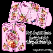 Pink English Roses Scalloped Top Gatefold Card Kit