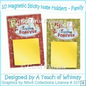 10 Magnetic Sticky Note Holders - Family