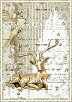 Spanish and French Merry Christmas Backing Background Paper