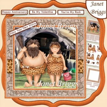 STONE AGE COUPLE 7.5 Anniversary New Home Decoupage Kit