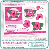 Hibiscus Decoupage Card Front ~ Pink