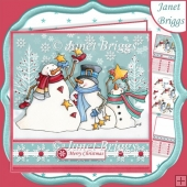 SNOWMEN CATCHING STARS Christmas 7.5 Decoupage Card Kit