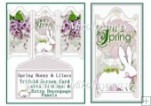 Spring Bunny and Lilacs Trifold Screen Card, Envelope, Decoupage