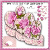 Pink Roses Triple Heart Easel Card Kit
