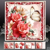 Red Roses with Lily Card Mini Kit
